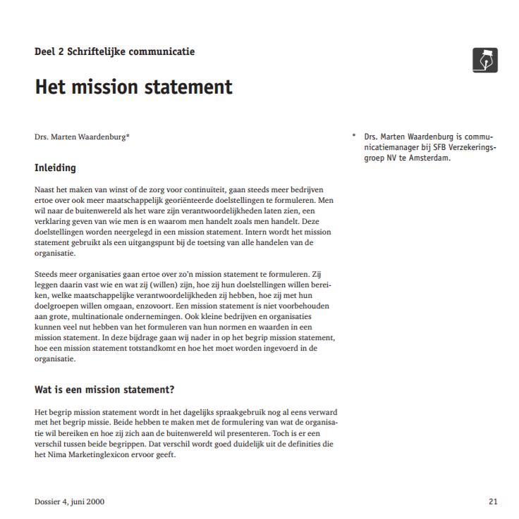 Het mission statement