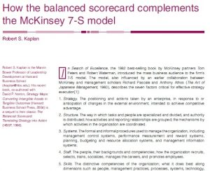 How the balanced scorecard complements the McKinsey 7-S model