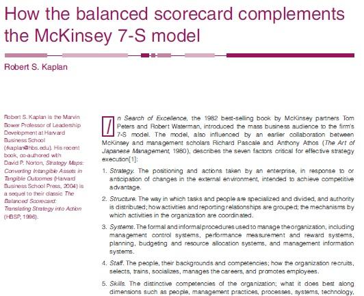 Balanced scorecard and 7S-model